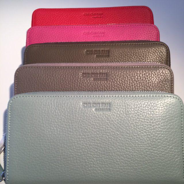 Lederportemonnaie in rot, pink, braun, lichtgrau und mimt