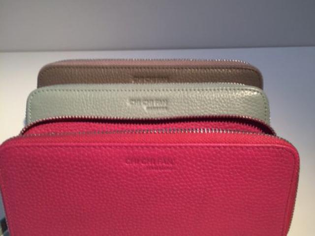 Lederportemonnaie in pink, mint und braun