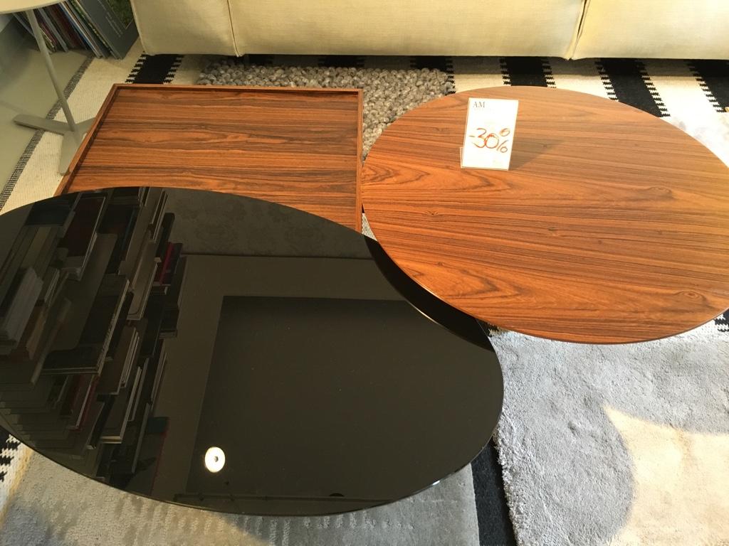 porro Couchtisch 3-Table Holz und Glas