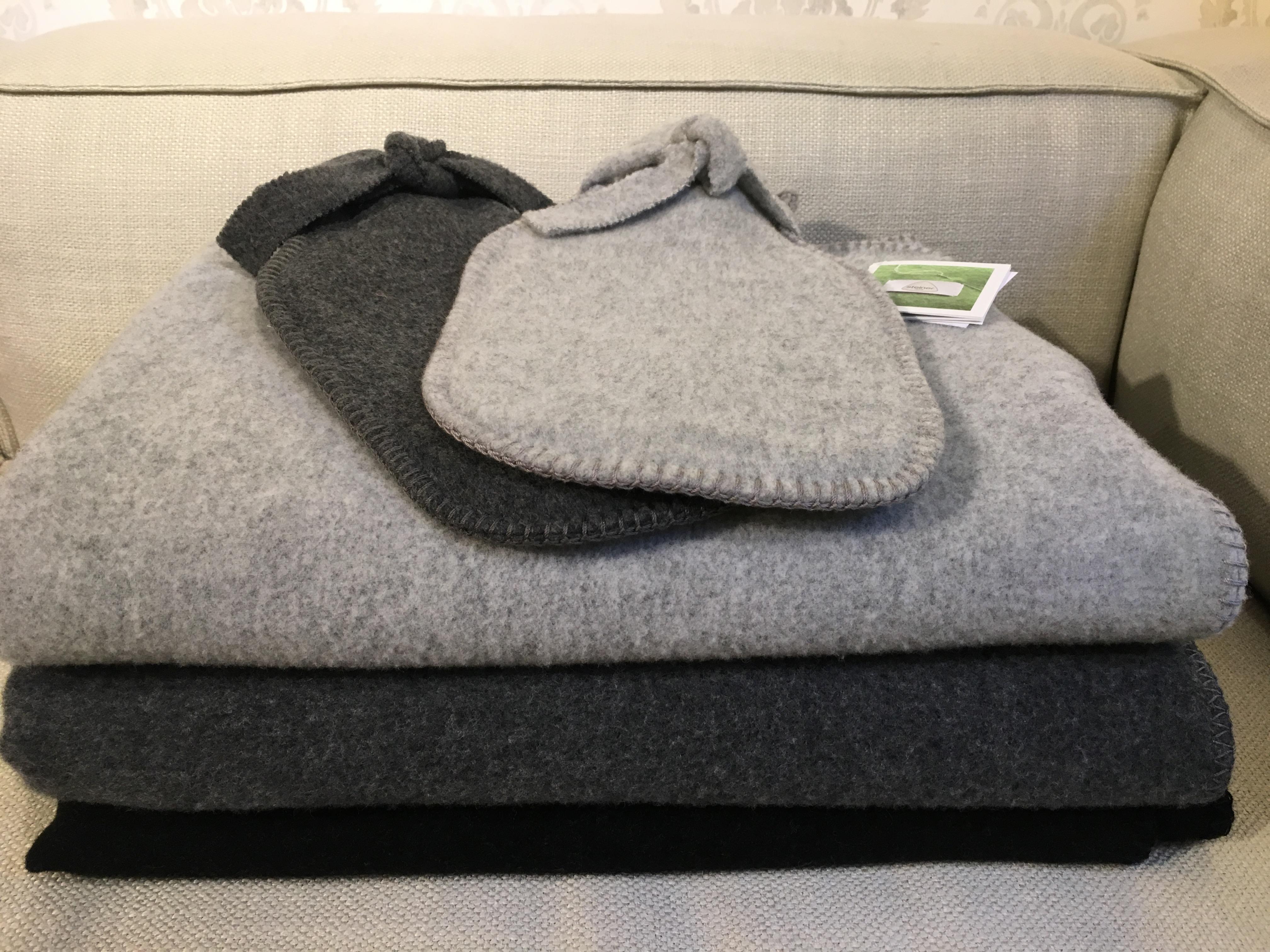 Decken und Wärmflaschen 100% Merinowolle